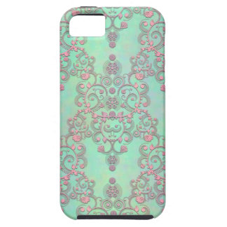 Pastel Pink over Mint Green Floral Damask iPhone 5 Covers