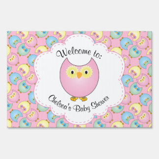 Pastel Pink Owl Baby Girl Shower Theme Sign