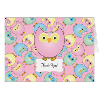 Pastel Pink Owl Baby Shower Thank You Card