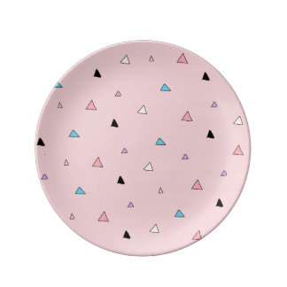 Pastel Pink Pieces Candy Chips Geometric Triangles Porcelain Plate