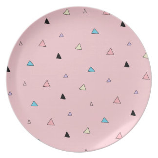 Pastel Pink Pieces Candy Chips Geometric Triangles Party Plate