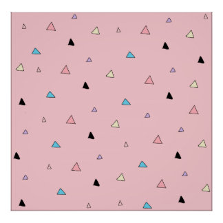Pastel Pink Pieces Candy Chips Geometric Triangles Poster