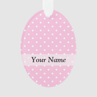 Pastel pink polka dot pattern ornament
