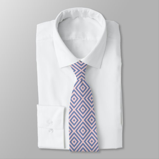 Pastel Pink & Powder-Blue Geometric Pattern Tie