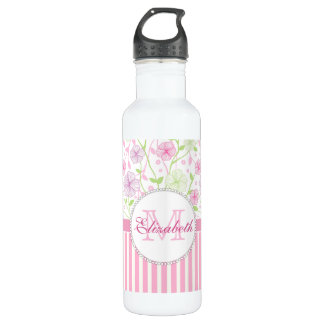 Pastel pink, purple, flowers, pink & white stripes 710 ml water bottle