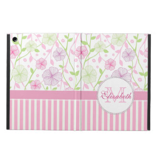 Pastel pink, purple, flowers, pink & white stripes cover for iPad air