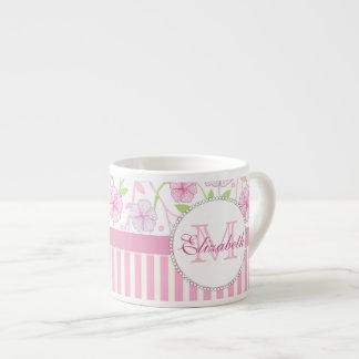 Pastel pink, purple, flowers, pink & white stripes espresso cup
