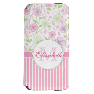Pastel pink, purple, flowers, pink & white stripes incipio watson™ iPhone 6 wallet case