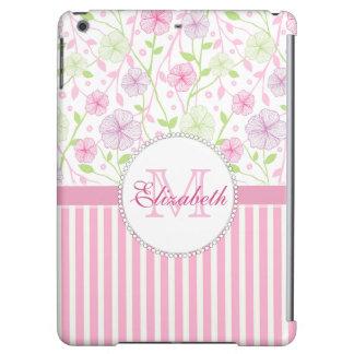 Pastel pink, purple, flowers, pink & white stripes iPad air case