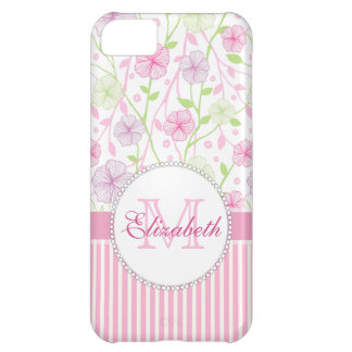 Pastel pink, purple, flowers, pink & white stripes iPhone 5C cover