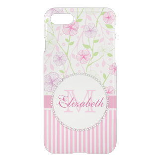 Pastel pink, purple, flowers, pink & white stripes iPhone 8/7 case