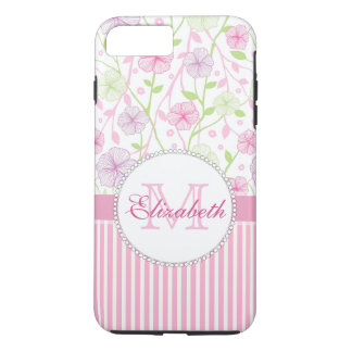 Pastel pink, purple, flowers, pink & white stripes iPhone 8 plus/7 plus case