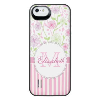 Pastel pink, purple, flowers, pink & white stripes iPhone SE/5/5s battery case