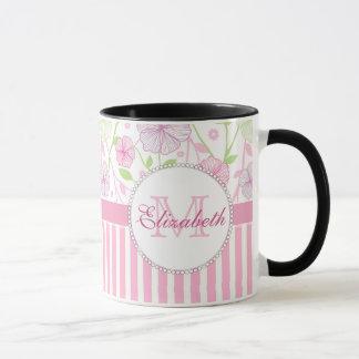 Pastel pink, purple, flowers, pink & white stripes mug