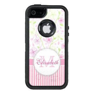 Pastel pink, purple, flowers, pink & white stripes OtterBox defender iPhone case