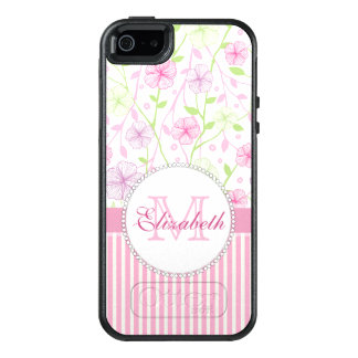 Pastel pink, purple, flowers, pink & white stripes OtterBox iPhone 5/5s/SE case