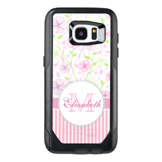 Pastel pink, purple, flowers, pink & white stripes OtterBox samsung galaxy s7 edge case