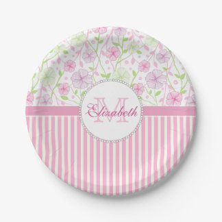 Pastel pink, purple, flowers, pink & white stripes paper plate