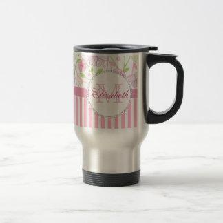 Pastel pink, purple, flowers, pink & white stripes travel mug