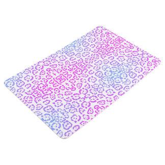 Pastel Pink Purple Leopard Cat Animal Print Floor Mat