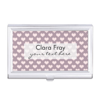 pastel pink purple love hearts polka dots pattern business card cases