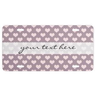 pastel pink purple love hearts polka dots pattern license plate