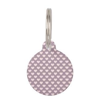 pastel pink purple love hearts polka dots pattern pet ID tag