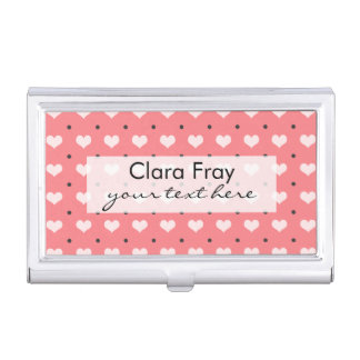 pastel pink red love hearts, polka dots pattern business card holder
