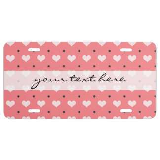 pastel pink red love hearts, polka dots pattern license plate