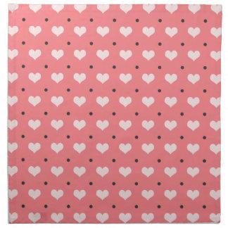 pastel pink red love hearts, polka dots pattern napkin