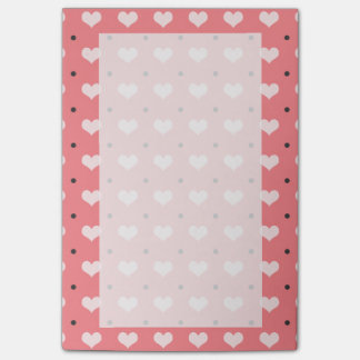 pastel pink red love hearts, polka dots pattern post-it notes
