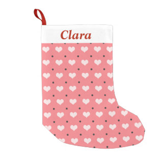 pastel pink red love hearts, polka dots pattern small christmas stocking