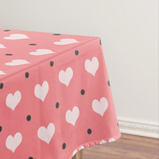 pastel pink red love hearts, polka dots pattern tablecloth