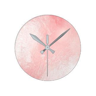 Pastel Pink Rose Gold Metallic Glass Gray Minimal Round Clock