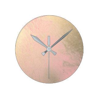 Pastel Pink Rose Gold Metallic Paint Gray Minimal Round Clock