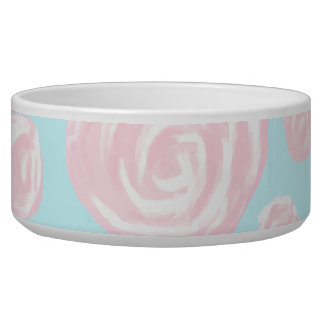 Pastel Pink Rose Pattern on Light Blue. Dog Water Bowl