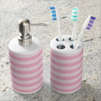 Pastel Pink Striped Bath Set