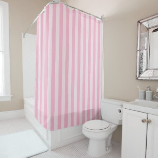 Pastel Pink Striped Shower Curtain