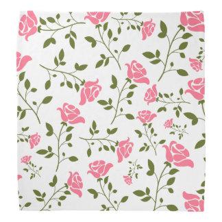 Pastel Pink Stylized Roses Pattern Bandannas