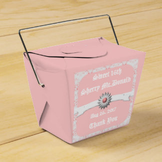 Pastel Pink Take Out Favor Box for Sweet 16th