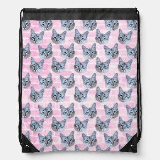 Pastel Pink Tito Cat Drawstring Bag