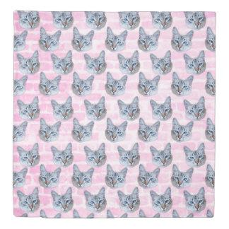 Pastel Pink Tito Cat Duvet Cover