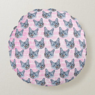 Pastel Pink Tito Cat Round Pillow