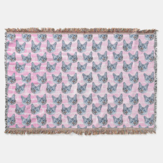Pastel Pink Tito Cat Throw Blanket