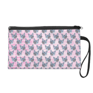 Pastel Pink Tito Cat Wristlet Clutches
