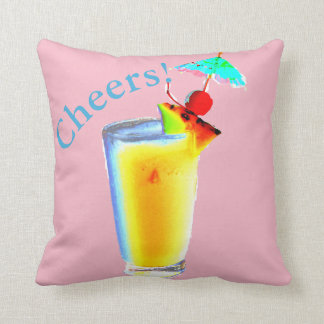 Pastel Pink Umbrella Cocktail Throw Pillow