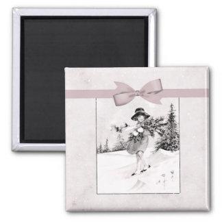 Pastel Pink Vintage Girlie In Snow Magnet