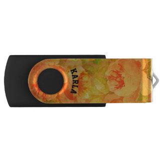 Pastel Pink Vintage Roses Monogram Swivel USB 2.0 Flash Drive