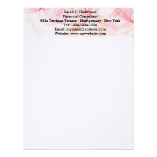 Pastel Pink Watercolor Letterhead