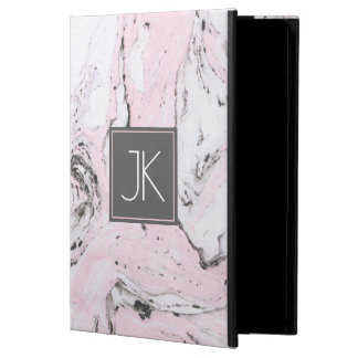 Pastel Pink White & Gray Modern Marble Swirls Case For iPad Air